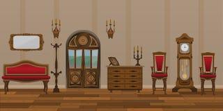 Het binnenland van de woonkamer in retro stijl royalty-vrije stock fotografie