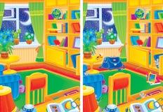 Het binnenland van de Zaal en 9 muizen die in de ruimte verbergen stock illustratie