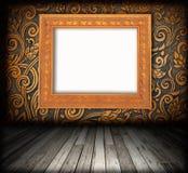 Het binnenland van de Zaal - uitstekende houten vloer Stock Afbeeldingen