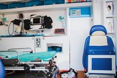 Het binnenland van de ziekenwagen Stock Afbeelding