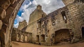 Het binnenland van een middeleeuws kasteel royalty-vrije stock foto