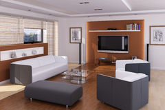 Binnenland van een moderne woonkamer Stock Fotografie