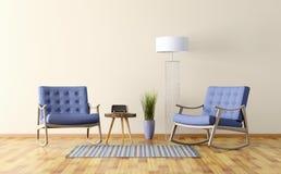 Het binnenland van een ruimte met twee 3d schommelstoelen geeft terug Royalty-vrije Stock Afbeelding