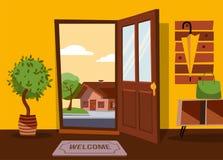 Het binnenland van gang in vlakke beeldverhaalstijl met open deur die de zomerlandschap met klein buitenhuis en groene boom overz vector illustratie