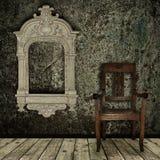 Het binnenland van Grunge met stoel en uitstekend frame Stock Afbeeldingen