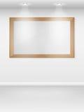 Het Binnenland van het album met lege frames op muur. Stock Fotografie
