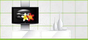 Het Binnenland van het huis - LCD TV op de muur en de decoratie royalty-vrije illustratie