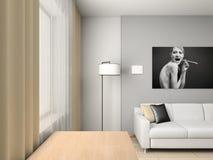 Het binnenland van het huis met portret. Royalty-vrije Stock Fotografie