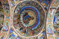 Het binnenland van het klooster - muurschilderingen royalty-vrije stock afbeeldingen