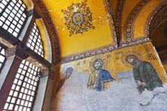 Het binnenland van het mozaïek in Hagia Sophia in Istanboel Turkije Stock Afbeeldingen