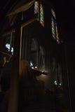 Het binnenland van het Notre Dame de Paris Stock Foto's