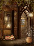 Het binnenland van het plattelandshuisje met de decoratie van Halloween Stock Afbeeldingen