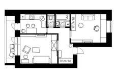 Het binnenland van het tekeningsplan van de flat met één slaapkamer Royalty-vrije Stock Foto's
