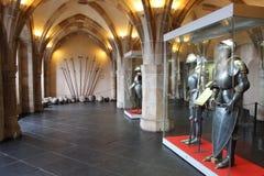 Het binnenland van het Viandenkasteel, Luxemburg Stock Fotografie
