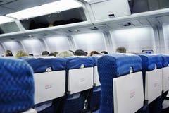Het binnenland van het vliegtuig stock foto
