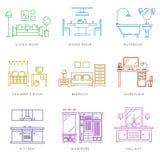 Het binnenland van huisruimten in lineaire stijl Vector pictogrammen vector illustratie