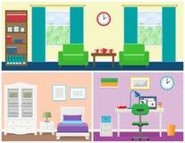 Het binnenland van huisruimten in vlakke stijl Grafische vector Royalty-vrije Stock Afbeeldingen