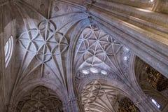Het binnenland van Kathedraal van de incarnatie, detail van kluis door gerichte bogen wordt gevormd, unieke aard van vesting die  royalty-vrije stock foto's