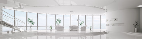 Het binnenland van modern 3d flatpanorama geeft terug royalty-vrije illustratie