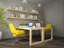 Het binnenland van modern ontwerpbureau met twee dient 3D teruggevende 2 in Stock Fotografie