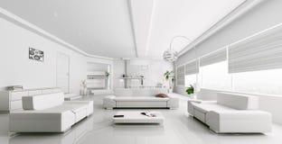 Binnenland van het moderne witte woonkamer teruggeven Stock Afbeelding