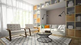 Het binnenland van moderne ontwerpruimte met witte 3D leunstoel twee geeft terug Stock Foto's