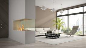 Het binnenland van moderne zolder met open haard en de witte 3D bank geven terug Stock Foto