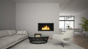 Het binnenland van moderne zolder met open haard en de witte 3D bank geven terug Stock Fotografie