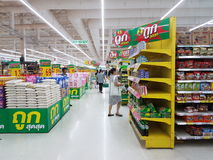 Het binnenland van supermarkttesco Lotus Extra Stock Foto's