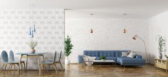 Het binnenland van woonkamer met bank en lijst en 3d de stoelen geven terug vector illustratie