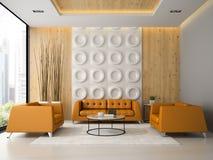 Het binnenland van woonkamer met oranje leunstoelen en 3D de bank geven terug Royalty-vrije Stock Fotografie