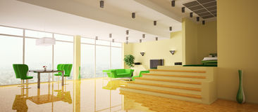 Het binnenlandse 3d panorama van de flat vector illustratie