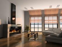 Het binnenlandse 3D teruggeven van het huis Stock Afbeeldingen