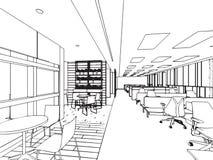 Het binnenlandse bureau van het de tekeningsperspectief van de overzichtsschets Stock Fotografie