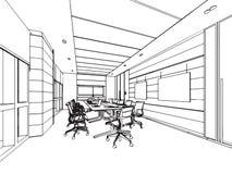 Het binnenlandse bureau van het de tekeningsperspectief van de overzichtsschets Stock Afbeeldingen