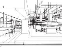 Het binnenlandse bureau van het de tekeningsperspectief van de overzichtsschets Stock Afbeelding