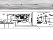 Het binnenlandse bureau van het de tekeningsperspectief van de overzichtsschets Royalty-vrije Stock Fotografie