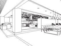 Het binnenlandse bureau van het de tekeningsperspectief van de overzichtsschets Royalty-vrije Stock Foto