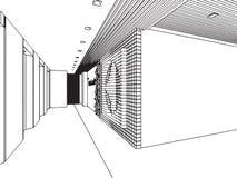 Het binnenlandse bureau van het de tekeningsperspectief van de overzichtsschets Stock Foto
