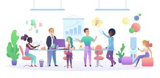 Het binnenlandse concept van het Coworkingscentrum Multiculturele Mensen die en bij de computers in de moderne open plek spreken  stock illustratie