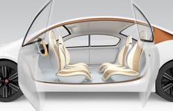 Het binnenlandse concept van de autonome auto De autoaanbieding die stuurwiel, draaibare passagierszetel vouwen Stock Afbeeldingen