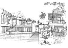 Het binnenlandse landschap van de architectuurbouw sketc Stock Foto