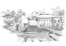 Het binnenlandse landschap van de architectuurbouw sketc Royalty-vrije Stock Fotografie