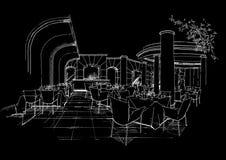 Het binnenlandse landschap van de architectuurbouw sketc Royalty-vrije Stock Afbeelding