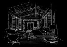 Het binnenlandse landschap van de architectuurbouw sketc Stock Fotografie