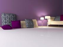 Het binnenlandse ontwerp van de elegantie van moderne woonkamer Royalty-vrije Stock Foto's
