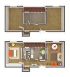 Het binnenlandse ontwerp van de flat - 3d hoogste mening Stock Afbeelding