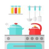 Het binnenlandse ontwerp van de keuken Stock Foto