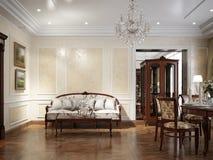 Het binnenlandse ontwerp van de luxewoonkamer in klassieke stijl Stock Foto