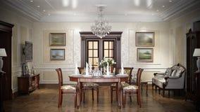 Het binnenlandse ontwerp van de luxewoonkamer in klassieke stijl Stock Fotografie